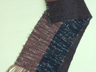 手織り カシミア入り ウール マフラー  MUF121A  茶系 黒 メンズ  ループヤーン使用 プレゼント 秋色の画像