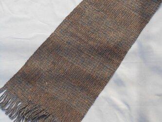 手織り マフラ ー MUF119A アルパカ ウール メンズ グレー系 防寒 プレゼントの画像