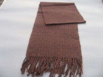 手織り シルク マフラー MUF116A ウール アンゴラ 男女兼用 模様織り えんじ茶 プレゼントの画像