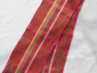 手織り マフラー MUF104A ウール 臙脂系 男女共用 チェック プレゼントの画像
