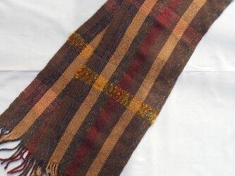 手織り マフラー MUF100B シルクウール  チェック 男女共用 茶系 プレゼントの画像