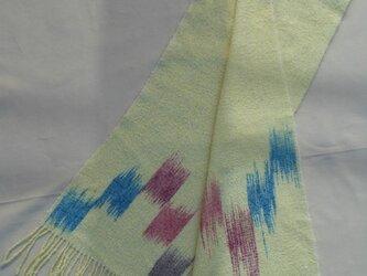 手織り 柔らか マフラー MUF113A  カシミア イエロー系 ウール 手絣の画像