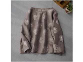 リネン100%総刺繍ゆったり大人可愛い長袖トップス♪の画像