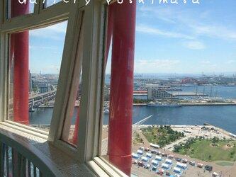 窓景 神戸ポートタワー 「メリケン波止場」 「港のある暮らし」 A3サイズ光沢写真縦 神戸風景写真  港町神戸  送料無料の画像