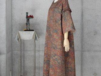 着物リメイク 辻が花 紬のワンピース/フリーサイズ の画像