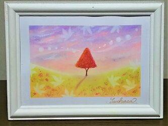 パステルアート 彩の秋風と希望の木 パステル画原画の画像