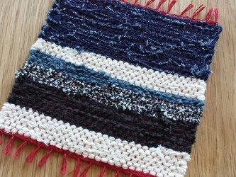【裂き織り】リネンのコースター#06の画像