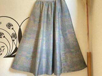 大島紬のリブフレアースカート 星月夜の画像