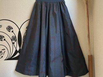 大島紬のリブフレアースカート 秋時雨の画像