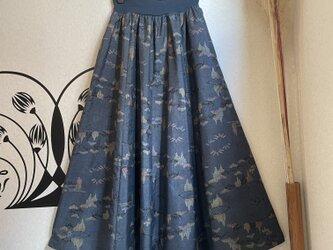 大島紬のリブフレアースカート 桐一葉の画像
