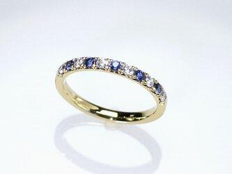 K18YG ダイヤモンド&ブルーサファイアリングの画像