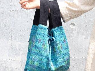 パトラ織り刺し子カンタシルクバッグ【ブルー】の画像