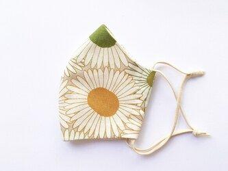 夕日に映えるもみじ色 アースカラーの花柄マスク 手縫いの画像