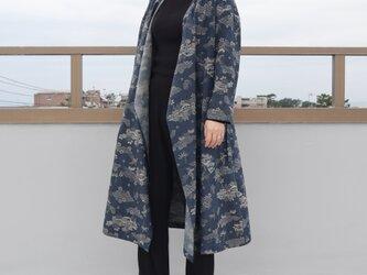 ●sale●着物リメイク●小紋のカシュクールワンピース・ギャザーなし(青海波や鳳凰・M)の画像