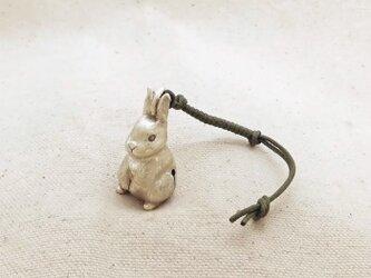 銀製の鈴 『 うさぎ 』 (シルバー925) 根付・バッグチャームの画像