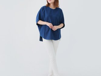 『 Tomo 』 コットン100%  手織り インディゴ染め ドルマンスリーブ プルオーバー シャツの画像