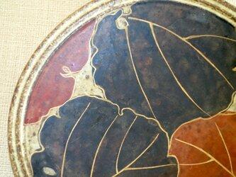 金彩絵付四方皿(葉紋)の画像