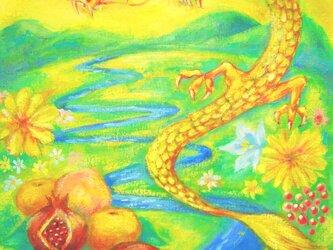 F8  風水絵画★受注制作★さんかんの実・龍・赤い玉・日本の風景・黄色の画像