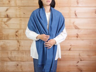 エシカルヘンプ平織りストール 正藍染め藍色 40cm幅  厚手の画像