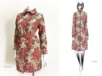 【1点もの・デザイン画付き】ベルト付きゴブラン織りシャツ型コートワンピース(KOJI TOYODA)の画像