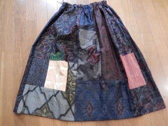 着物リメイクスカート☆ブーツでレトロカジュアルに楽しくかっこよく78cm丈の画像
