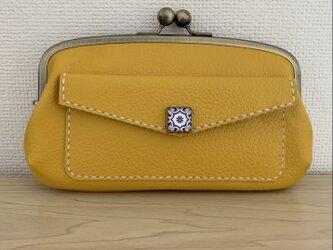 【送料無料】外ポッケが付いた、本革親子がまぐち長財布(きいろレザー)の画像