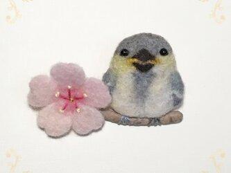 「桜とシジュウカラのひな」羊毛ブローチの画像