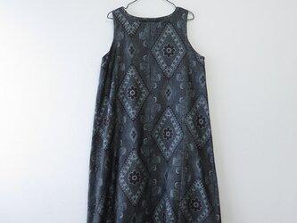 期間限定2000円 OFF SALE*アンティーク着物*藍大島紬のワンピース(Lサイズ・割り込み絣)の画像