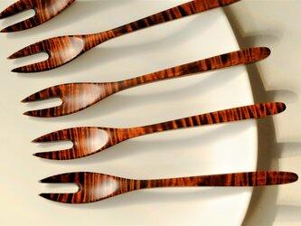 栃材縮杢の和菓子フォーク の画像