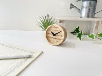 KATOMOKU mini clock 2 ブラウン km-125BR ホワイトアッシュの画像