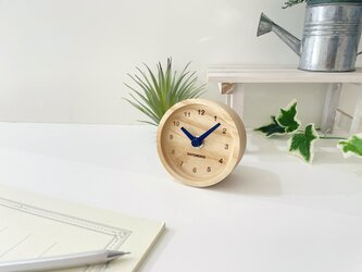 KATOMOKU mini clock 2 ネイビー km-125BNV ホワイトアッシュの画像