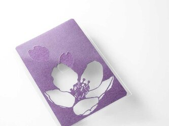 切り絵 カード しおり 名刺 桜 深紫の色渋紙 1枚の画像