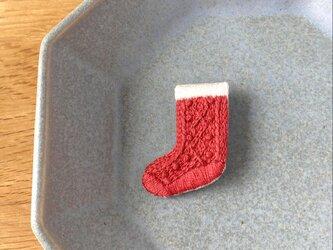 [新作・在庫あり]アラン編み靴下の刺繍ブローチ(red)の画像