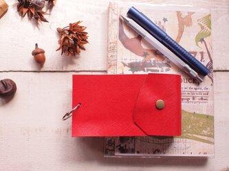 """本革はっきりとした赤情報カード・京大式カードケース  5""""×3""""サイズの画像"""