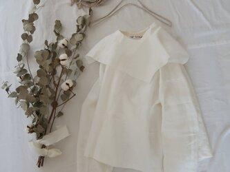 大きな襟のリネンプルオーバー♡着映え♡オフホワイト・トレンド感の画像