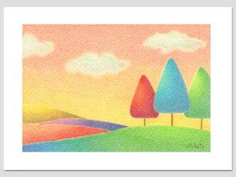夕日の丘(2Lサイズ。色鉛筆画。複製画)の画像