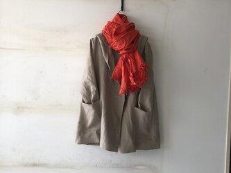 【冬支度SALE】厚手リネンの男女兼用フーテッドコート H75の画像