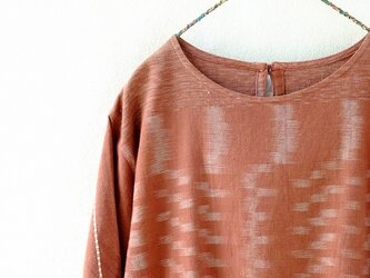手織り木綿のゆったりチュニックブラウスの画像