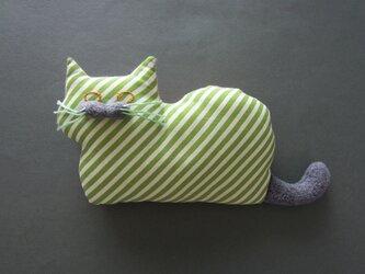 """"""" Stickitten"""" kitten loaf USAコットン/Diagonal Stripes グリーンの画像"""