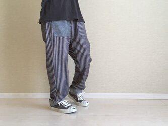 ゆるパンツ/ブルーグレー系綿ストライプ(spt00005)の画像