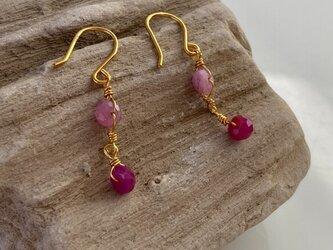 K24純金ルビー+ピンクサファイアピアス◇K24 Ruby + Pink Sapphire Earringsの画像