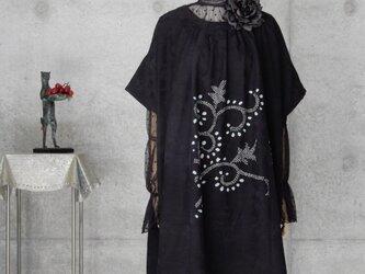 着物リメイク 絞り模様のギャザーチュニック/フリーサイズ  大きめの画像