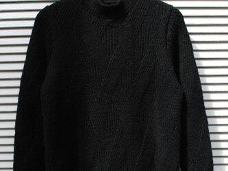 アランのプルオーバー・黒 12(送料無料)の画像