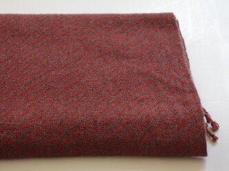 手織りカシミアストール・・紅の葉っぱの画像