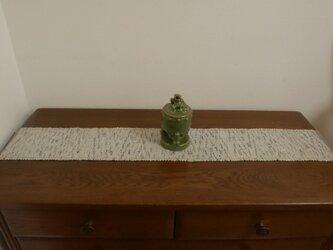 裂織 銀 白絣 草木染(栗)【541】敷物 ランナーの画像