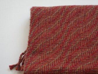 手織りカシミアマフラー・・紅の葉っぱの画像