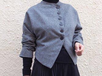 【新作】斜文織り ウール混 レトロ&モード ショートジャケット21022の画像