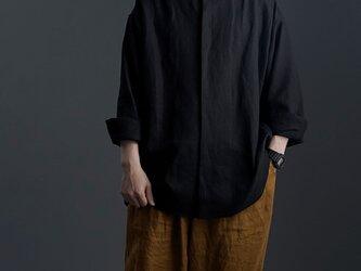 【wafu】Oversized Linen shirt 比翼ビックシャツ 男女兼用 / 黒色 t021e-bck1の画像