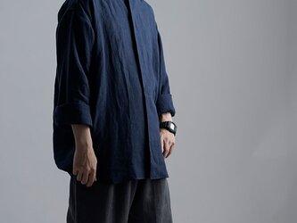 【wafu】Oversized Linen shirt 比翼ビックシャツ 男女兼用 / 留紺(とめこん) t021e-tmk1の画像