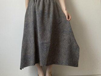 着物リメイクスカート チェックの画像